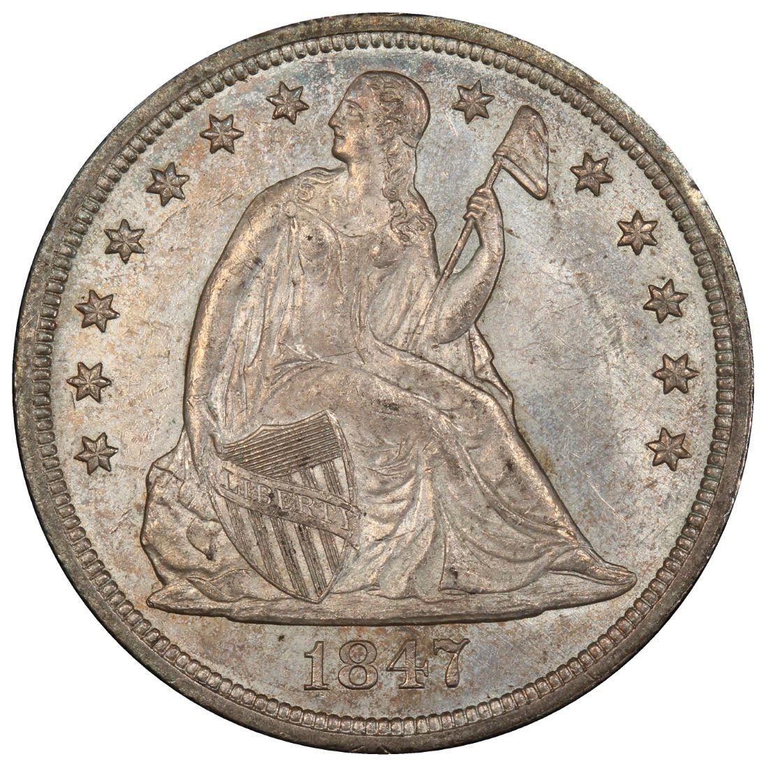 1847 Seated Liberty Silver Dollar Values and Prices - Past