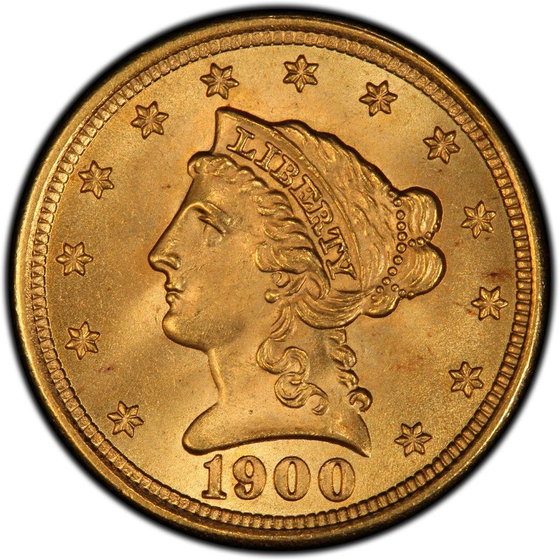 1900 Liberty Head 2 50 Gold Quarter Eagle Coin Values And