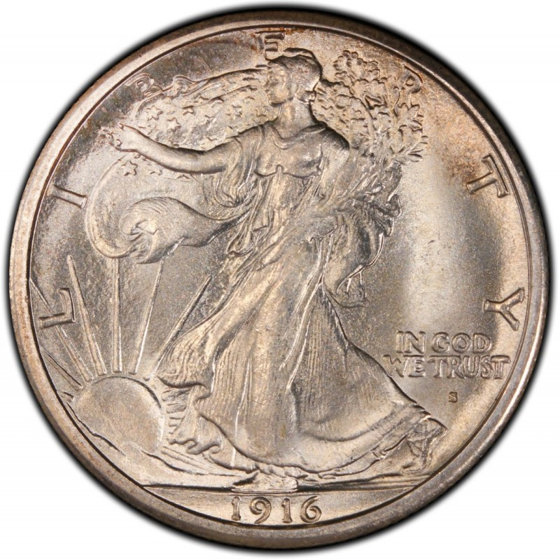 1916-P Walking Liberty Half scarce 90 /% silver Fine details 1st year coin