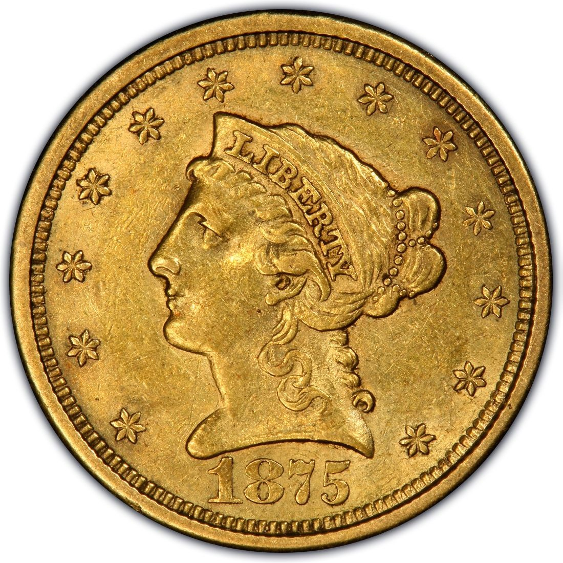 1875 Liberty Head 2 50 Gold Quarter Eagle Coin Values And