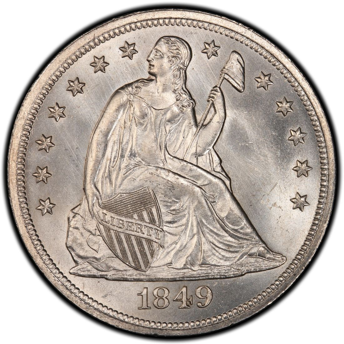 1849 Seated Liberty Silver Dollar Values And Prices Past