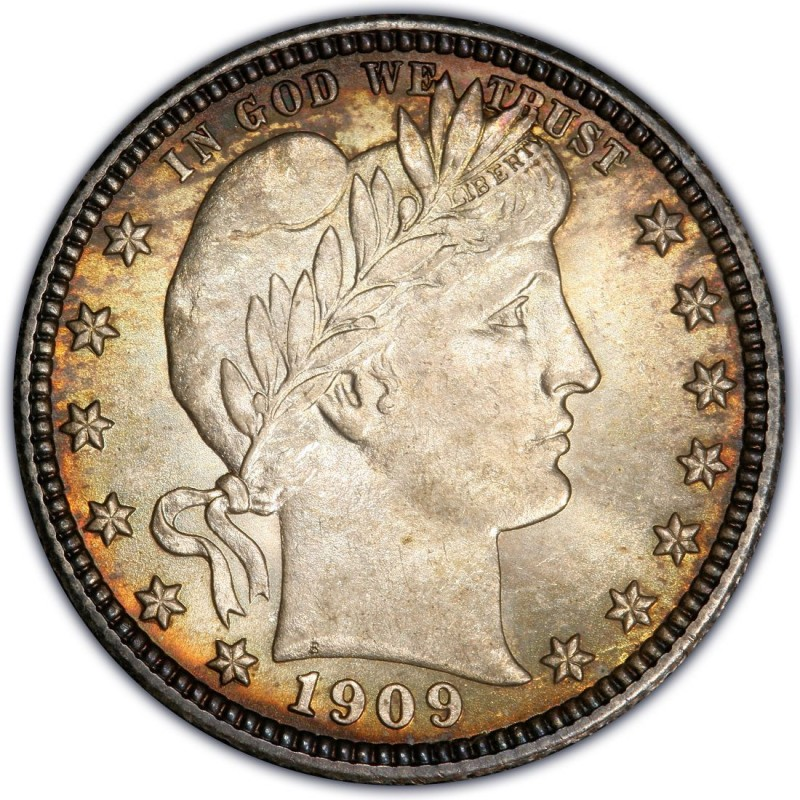 Barber Wheat : 1909 Barber Quarter Values and Prices - Past Sales CoinValues.com