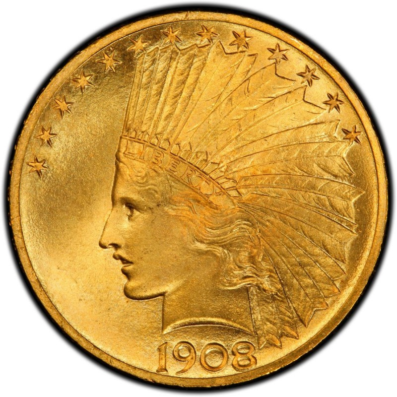 1908 Indian Head Gold 10 Eagle Values And Prices Past