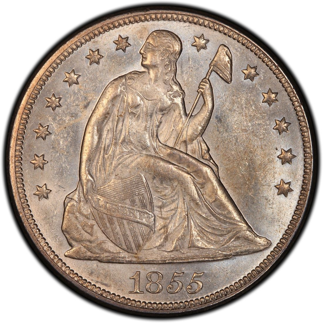 1855 Seated Liberty Silver Dollar Values And Prices Past
