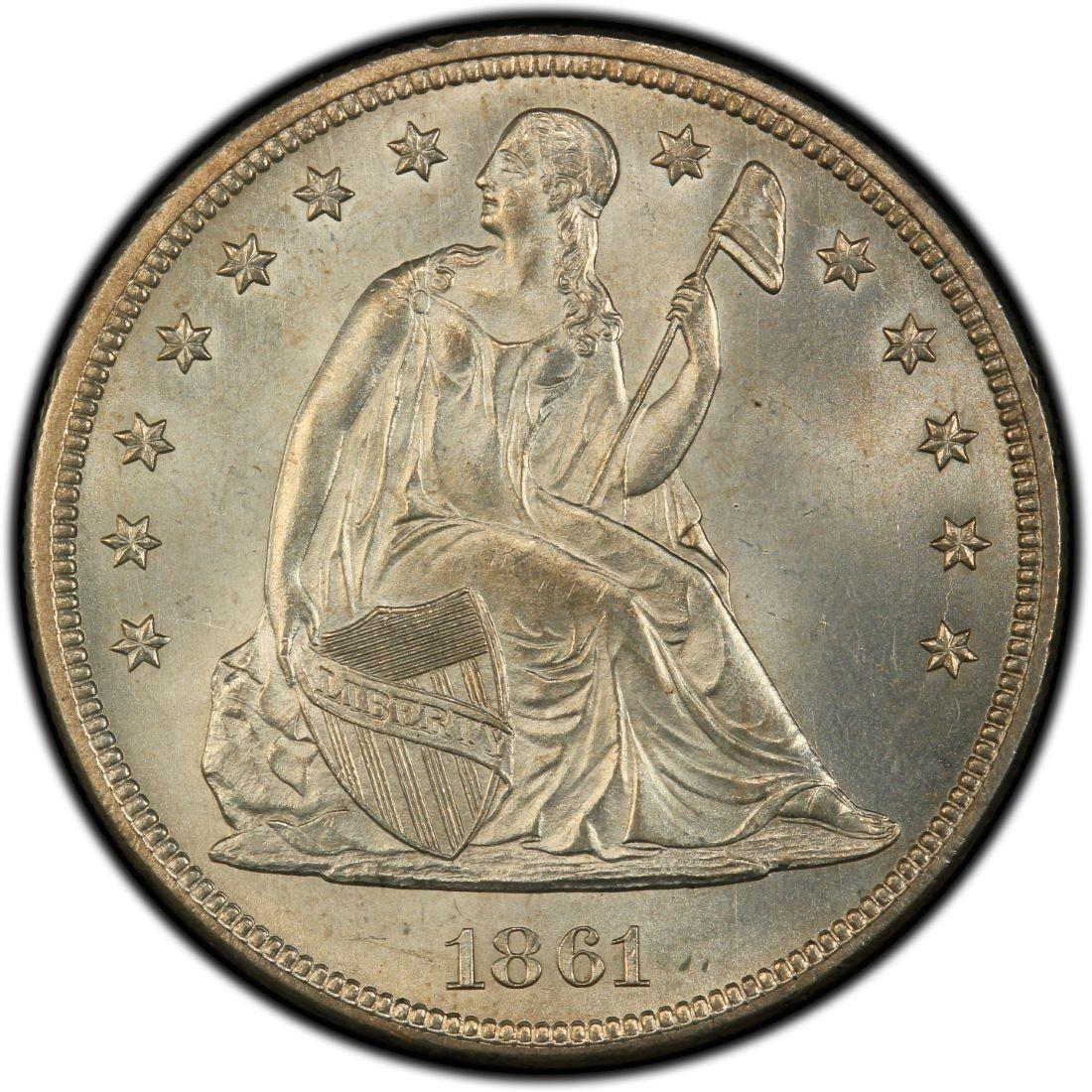 1861 Seated Liberty Silver Dollar