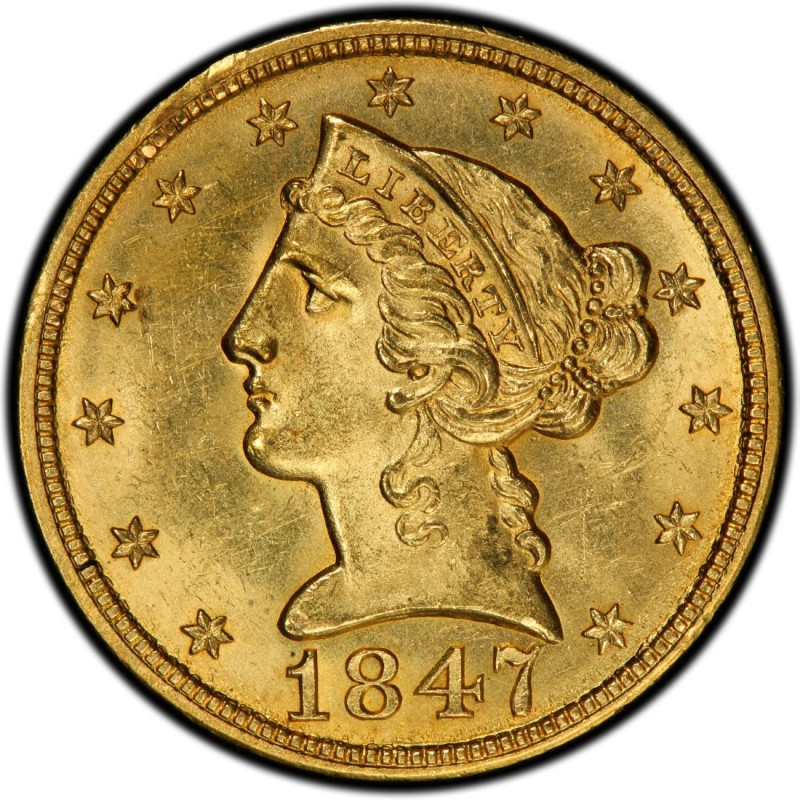 1847 Liberty Head Half Eagles Values and Prices - Past Sales ...