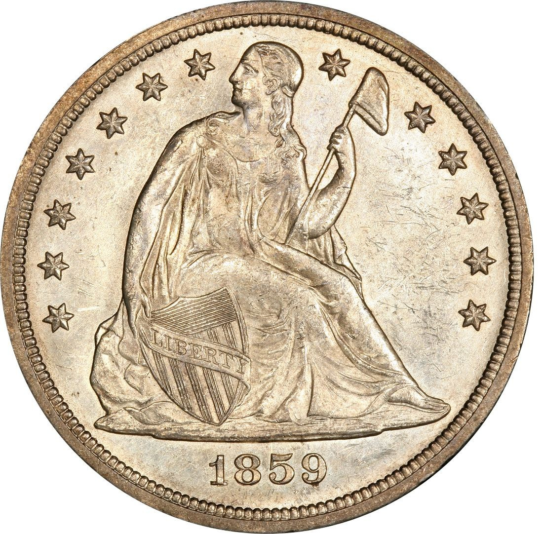 1859 Seated Liberty Silver Dollar Values And Prices Past