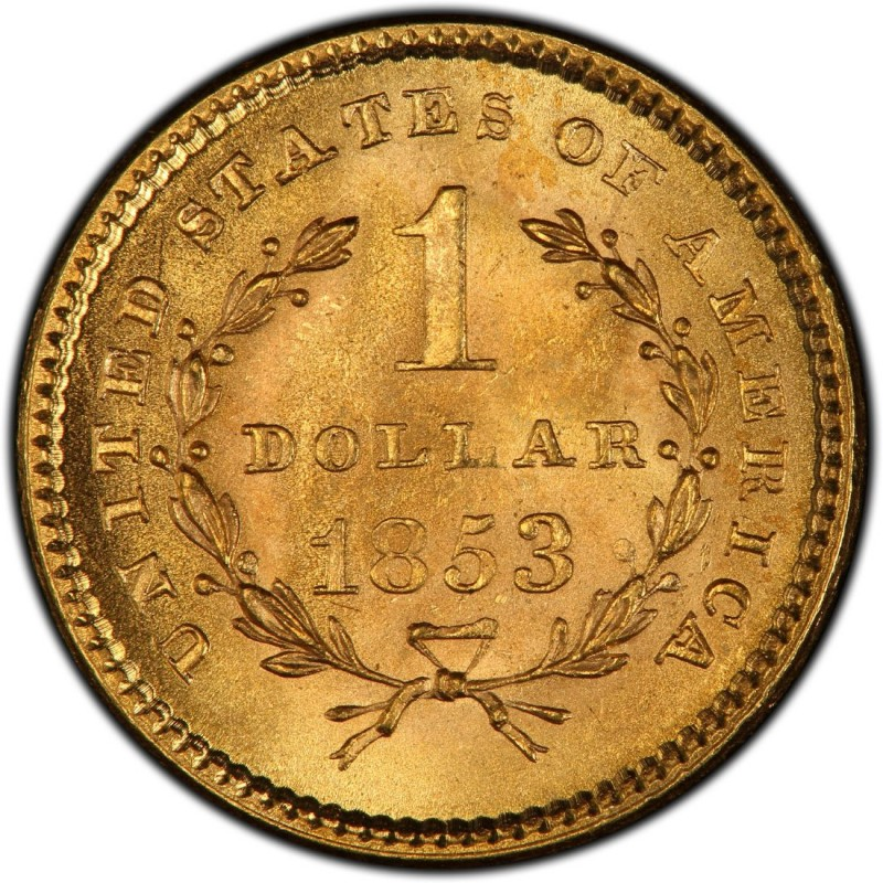 Old Liberty Coins 1853 Liberty Head Gold $1 Coin