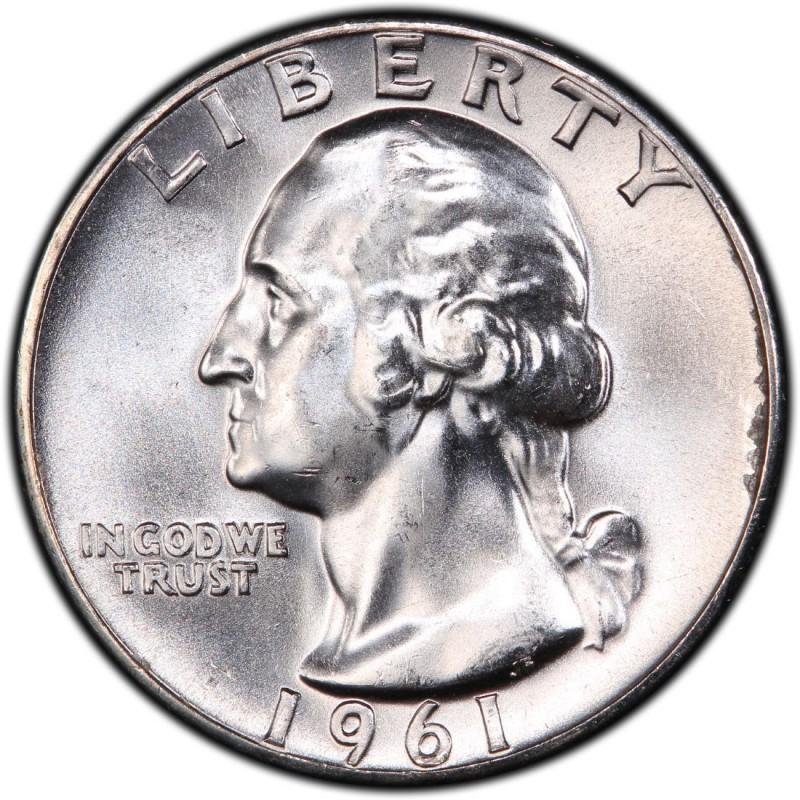 1961  US   Silver  Washington  Quarter   ...Circulated...