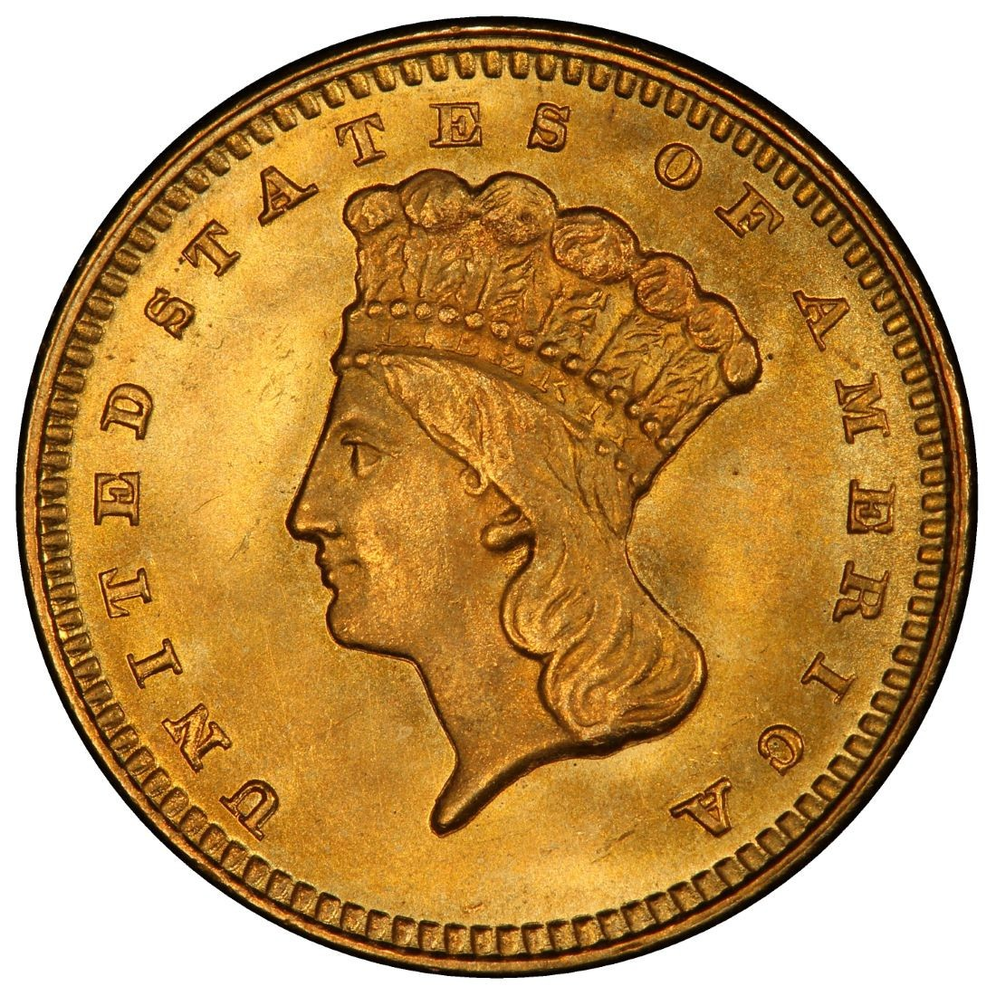 What Is A Gold Dollar Coin Worth: 1873 Large Head Indian Princess Gold Dollar Values And