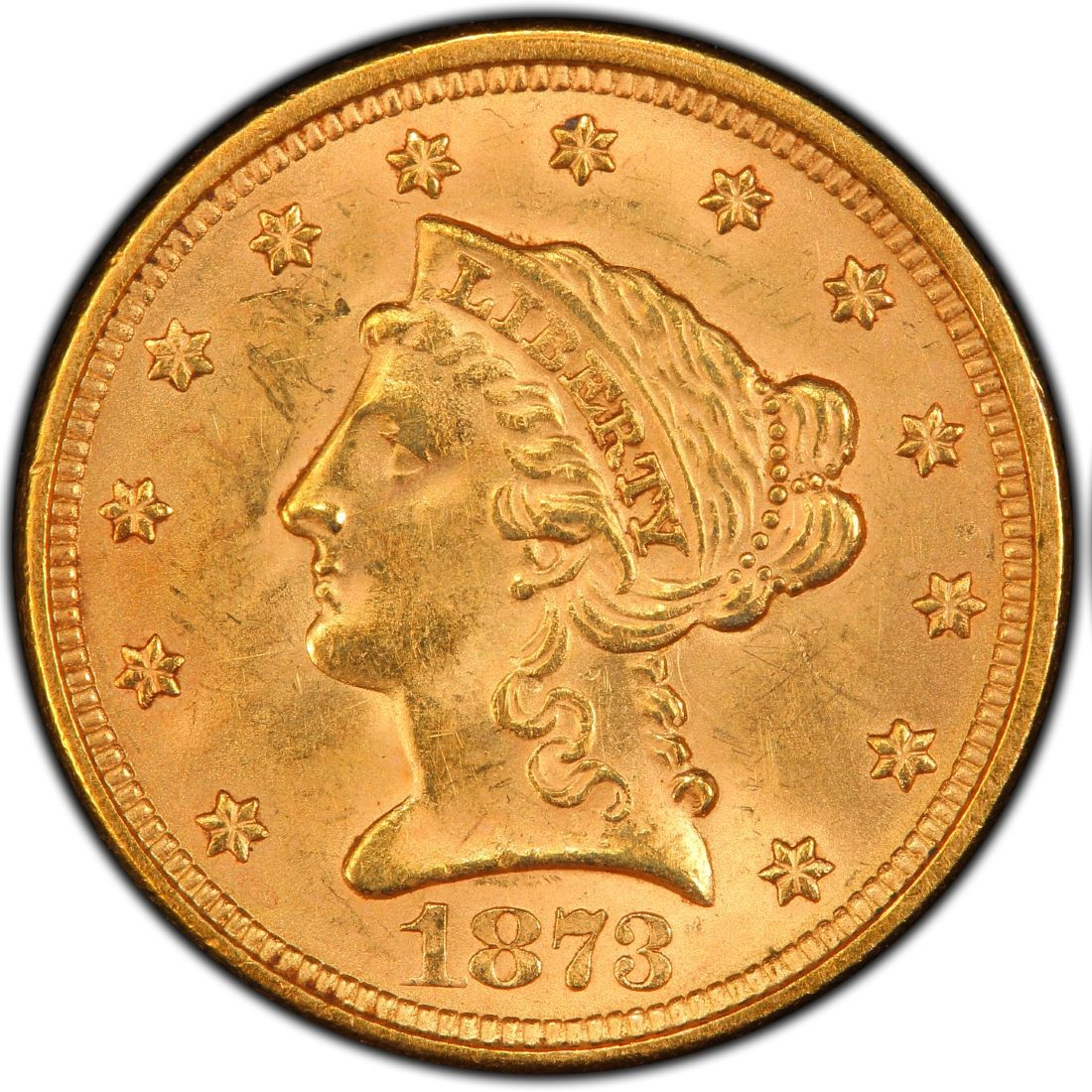 1873 Liberty Head $2.50 Gold Quarter Eagle Coin