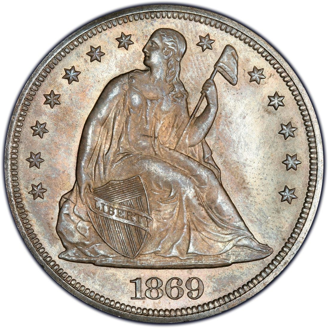 1869 Seated Liberty Silver Dollar Values And Prices Past
