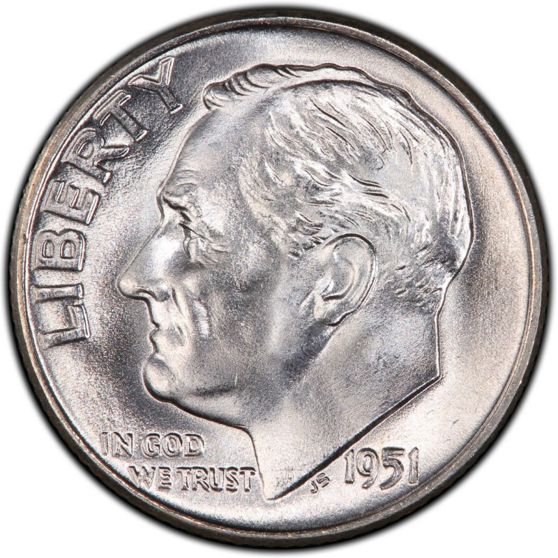 1951 Roosevelt Dime Values and Prices - Past Sales