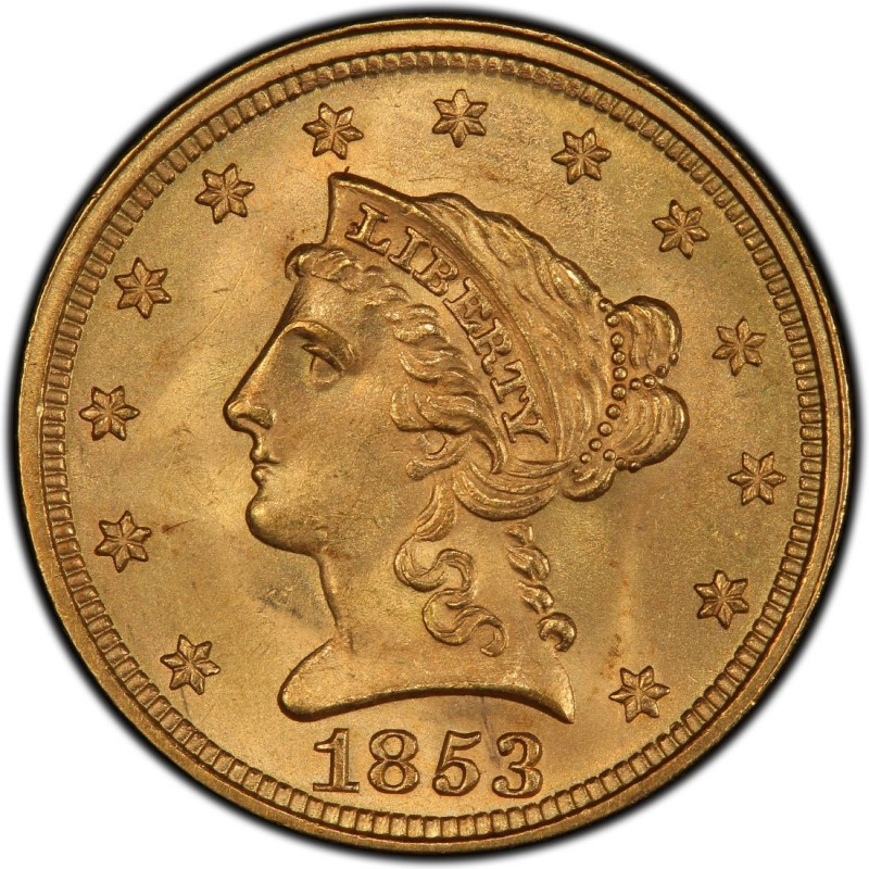 1853 Liberty Head 2 50 Gold Quarter Eagle Coin Values And
