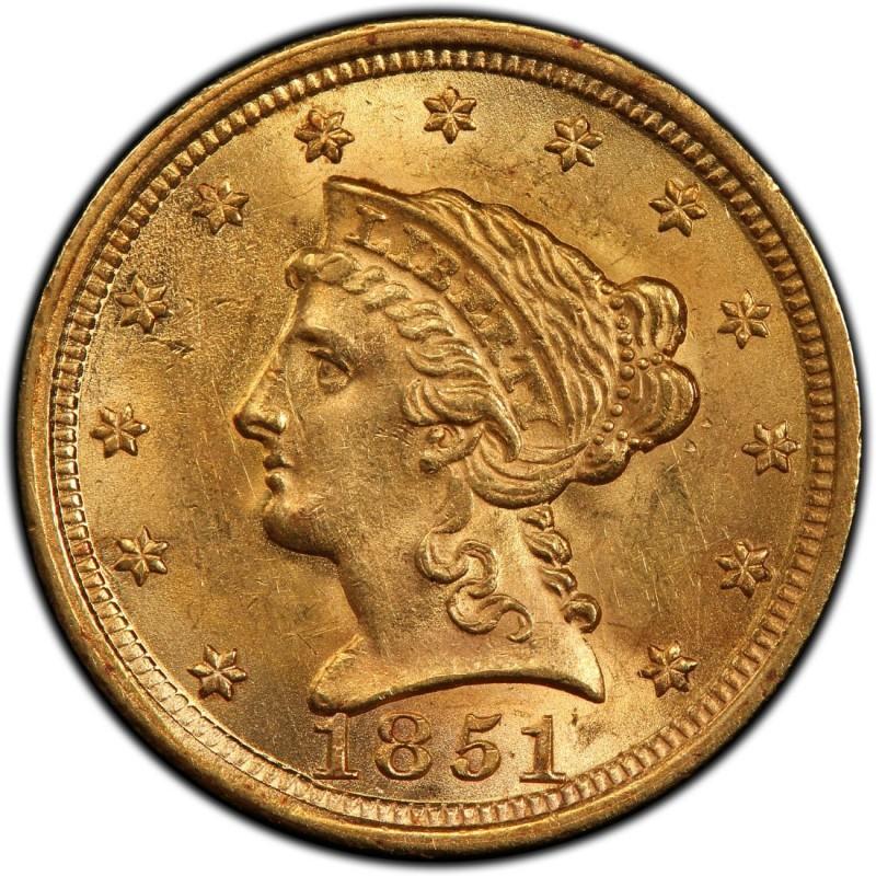 1851 Liberty Head 2 50 Gold Quarter Eagle Coin Values And