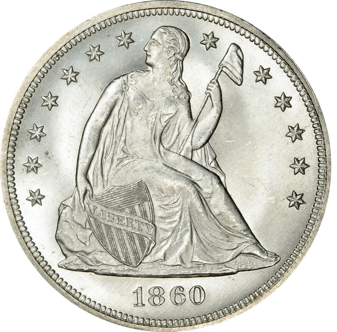 1860 Seated Liberty Silver Dollar Values And Prices Past