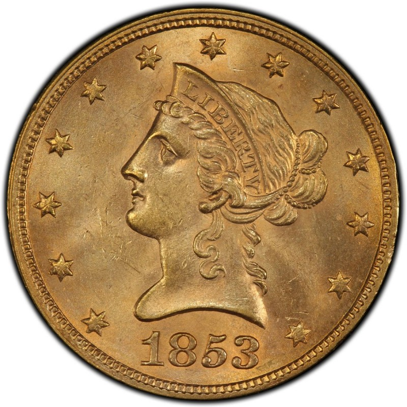 1853 Liberty Head 10 Gold Eagle Values And Prices Past