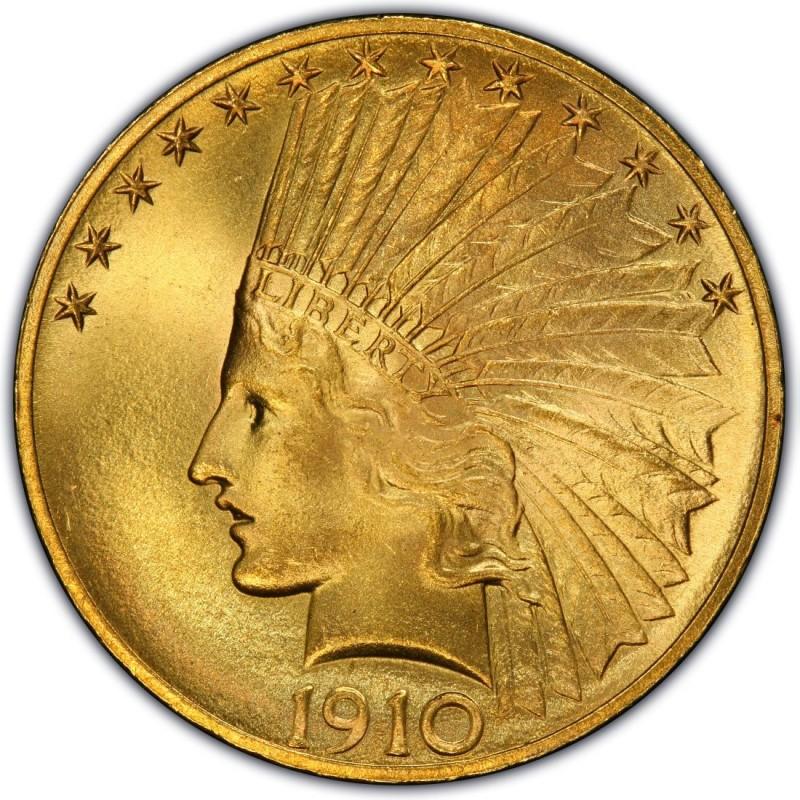 1910 Indian Head Gold 10 Eagle