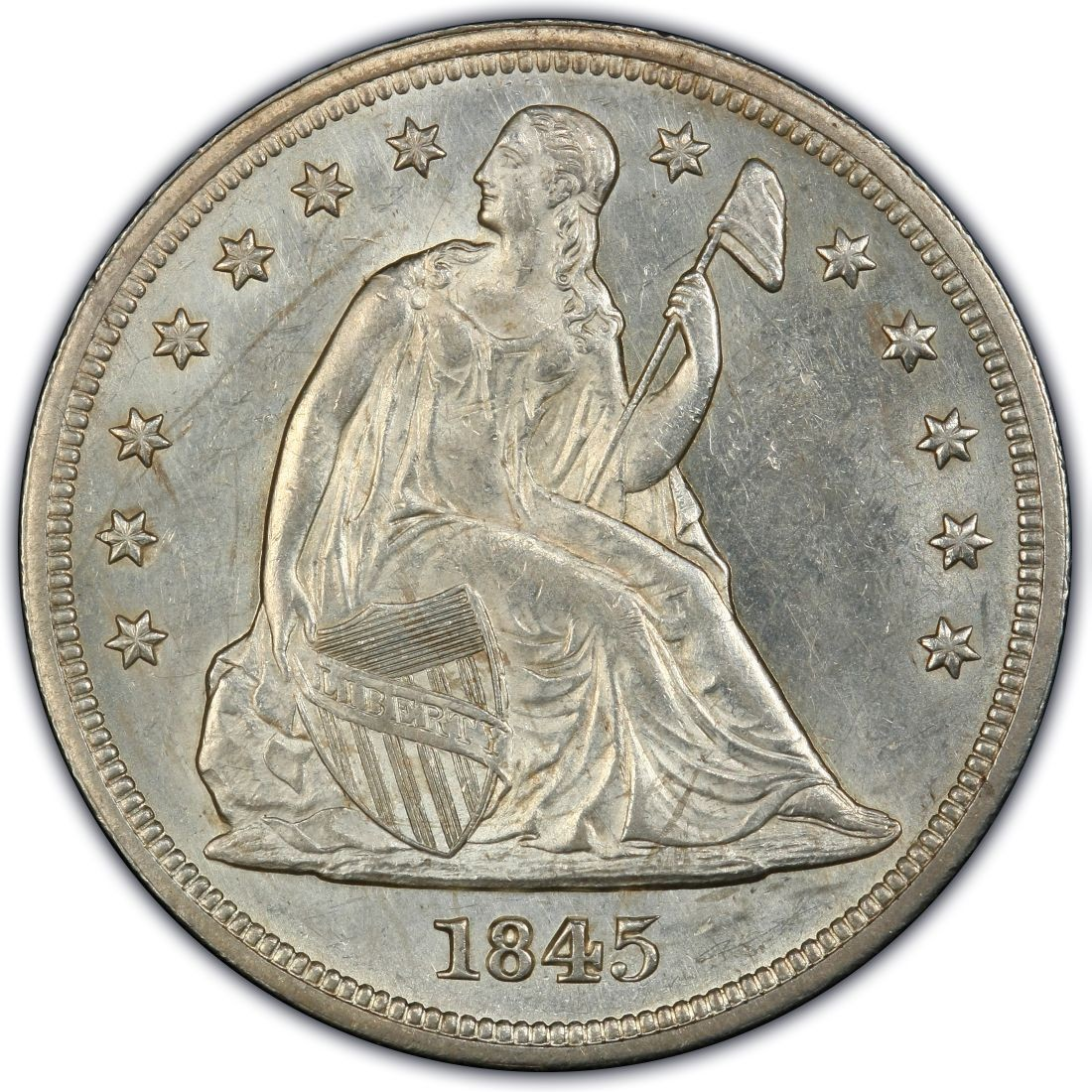 1845 Seated Liberty Silver Dollar Values And Prices Past
