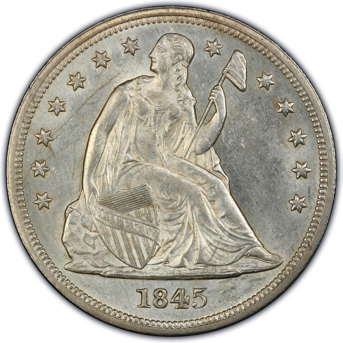 1845 Seated Liberty Silver Dollar