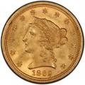 1862 Liberty Head $2.50 Gold Quarter Eagle Coin