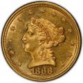 1868 Liberty Head $2.50 Gold Quarter Eagle Coin