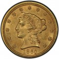 1860 Liberty Head $2.50 Gold Quarter Eagle Coin
