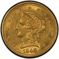 1849 Liberty Head $2.50 Gold Quarter Eagle Coin