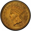 1872 Large Head Indian Princess Gold Dollar