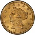 1857 Liberty Head $2.50 Gold Quarter Eagle Coin