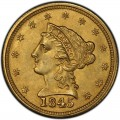 1845 Liberty Head $2.50 Gold Quarter Eagle Coin