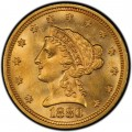 1880 Liberty Head $2.50 Gold Quarter Eagle Coin