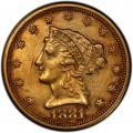 1881 Liberty Head $2.50 Gold Quarter Eagle Coin