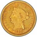 1863 Liberty Head $2.50 Gold Quarter Eagle Coin