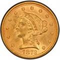 1873 Liberty Head $2.50 Gold Quarter Eagle Coin