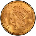 1858 Large Head Indian Princess Gold Dollar