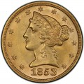 1853 Liberty Head Half Eagles