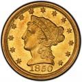 1850 Liberty Head $2.50 Gold Quarter Eagle Coin