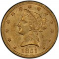 1851 Liberty Head $10 Gold Eagle