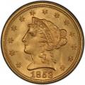 1853 Liberty Head $2.50 Gold Quarter Eagle Coin