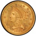 1884 Liberty Head $2.50 Gold Quarter Eagle Coin