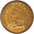 1857 Large Head Indian Princess Gold Dollar