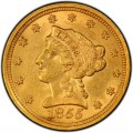 1855 Liberty Head $2.50 Gold Quarter Eagle Coin