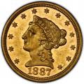 1887 Liberty Head $2.50 Gold Quarter Eagle Coin