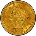 1844 Liberty Head $2.50 Gold Quarter Eagle Coin