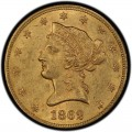 1862 Liberty Head $10 Gold Eagle