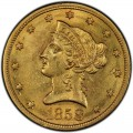1858 Liberty Head $10 Gold Eagle
