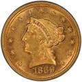 1869 Liberty Head $2.50 Gold Quarter Eagle Coin