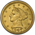 1847 Liberty Head $2.50 Gold Quarter Eagle Coin