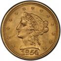 1854 Liberty Head $2.50 Gold Quarter Eagle Coin